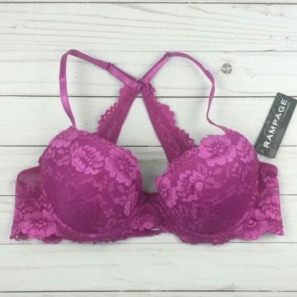 Rampage Intimates Lace Demi Bra 34B, Red